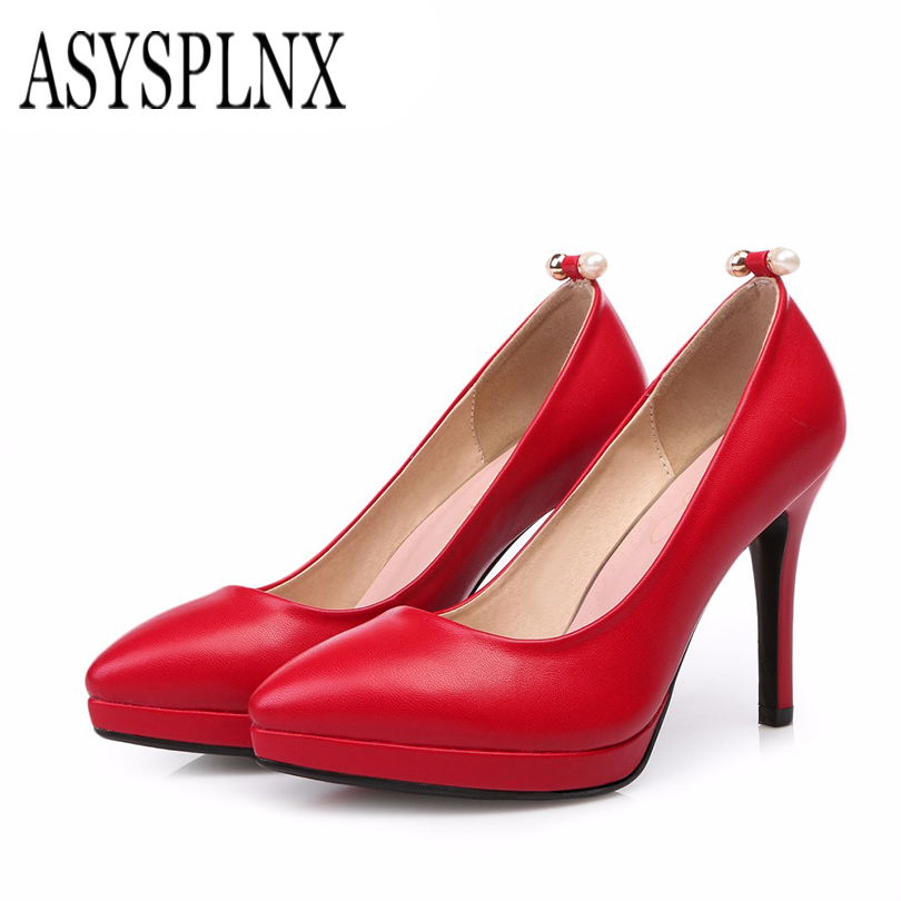 ФОТО ASYSPLNX Pointed toe High heels woman shoes 2017 summer Female womens Pumps black red ladies fashion platform casual party shoes