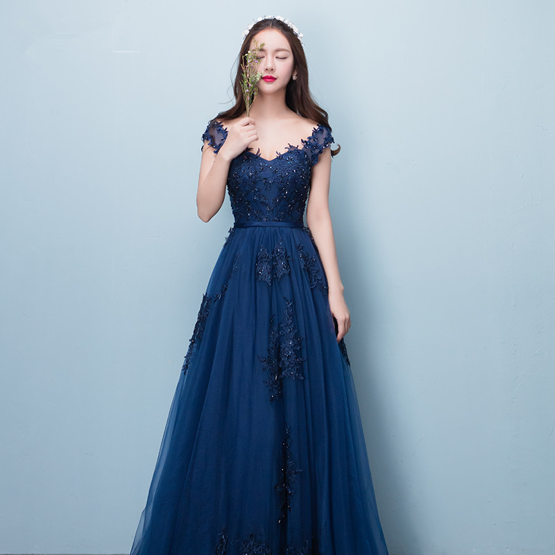 Robe De Soiree Party Dress 2017 New Style Sexy Sweetheart Navy Blue