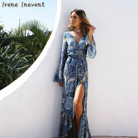 Irene Inevent Women Summer Beach Boho Maxi Dress 2017 High Quality Brand Sexy Print Long Bohemian