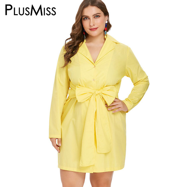 a32184825a7 PlusMiss Plus Size Bow Loose Shirt Dress Office Ladies Big Size XXXXL XXXL  XXL Autumn 2018 Long Sleeve Dresses Women Work Wear