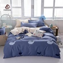 ParkShin Flat Sheet Duvet Cover Set Fashion Bedding Cartoon Whale Quilt 1.2/1.5/1.8/2.0 Bedspread Adult Bedclothes