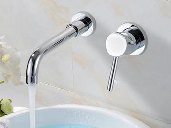 Contemporary Chrome Finish Single Handle Wall Mount Widespread Bathroom Sink Faucet BF008