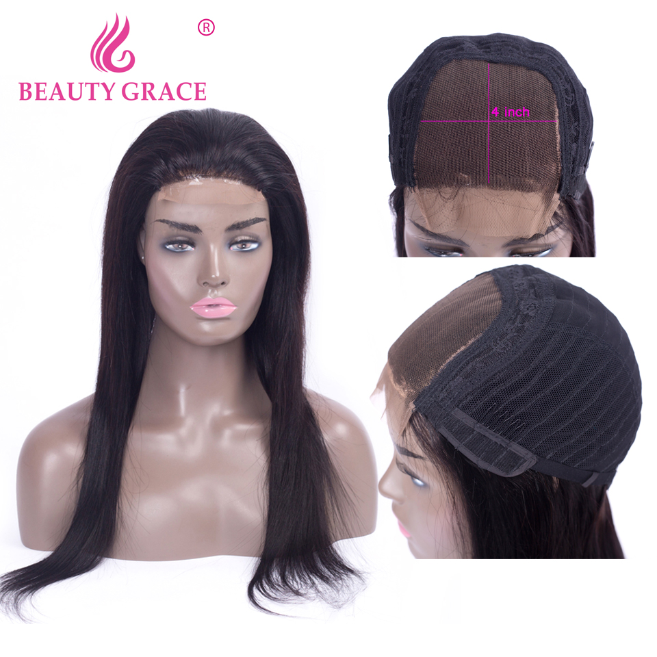 Beauty Grace 4x4 Closure Wig Brazilian Straight Hair Lace Wig Non Remy Lace Closure Human Hair Wigs For Black Women