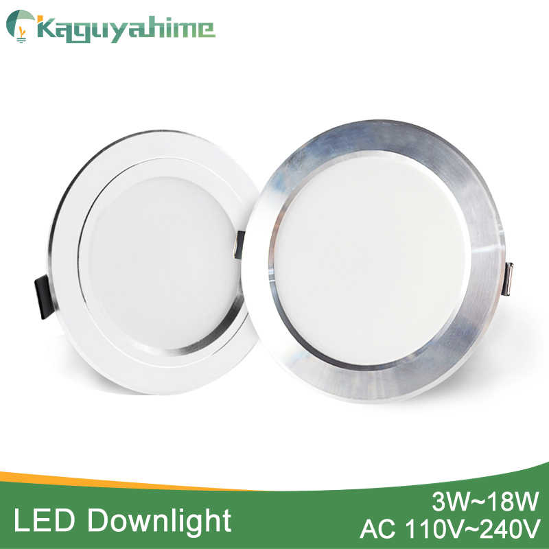 Kaguyahime 3 W-18 W LED Downlight 110 V 220 V AC85 ~ 240 V כסף לבן Ultra דק בהיר עגול LED תקרת ספוט שקוע למטה אור