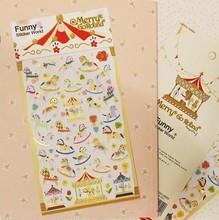 цена Cute Cartoon Paper Sticker Merry Go Round Lovely Decoration Stationery School Office Supplies 1 Sheet Kawaii онлайн в 2017 году