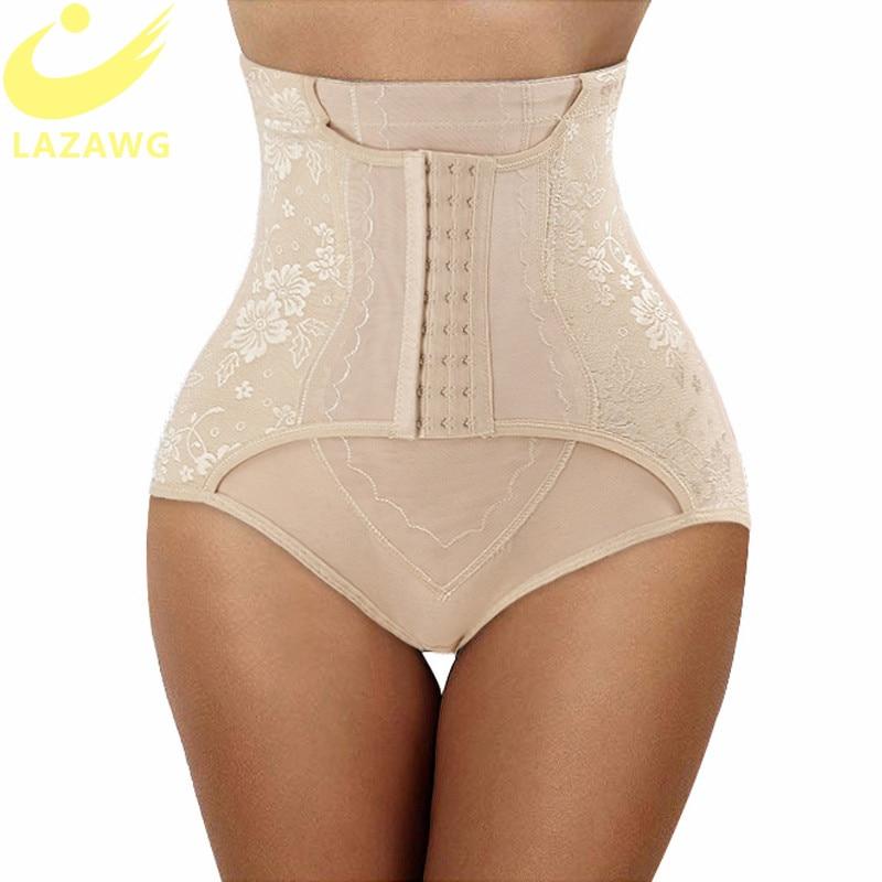 LAZAWG Mulheres Firm Tummy Controle Calcinhas Shaper Do Corpo Lingerie Sem Costura Shapewear Corpo Mágico com Ganchos Trainer Cintura Bunda Levantador