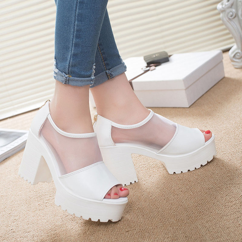 HOT popular Summer Sandals Lace Casual Block Heels Mesh Platform Wedge Peep Toe Korean Sexy Women Shoes black white nayiduyun summer wedge high heels women casual platform pumps round toe breathable summer sneakers sandals school shoes chic