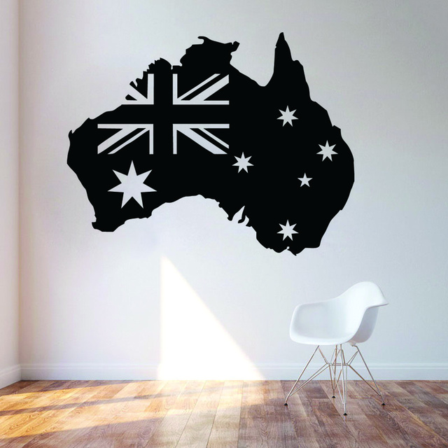 dctop pvc removable waterproof self adhesive australian flag map