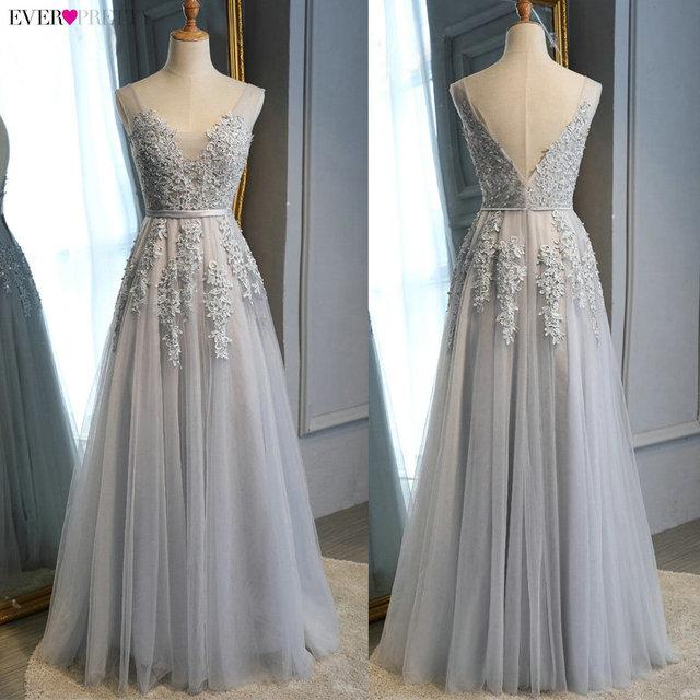 Prom Dresses Long 2020 Ever Pretty Elegant Long V-neck Tulle Lace Applique Sleeveless A-line Hot Selling Vestidos De Graduacion 4