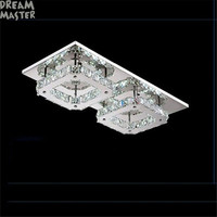 Ceiling Light LED Stainless Steel Amber Crystal Aisle Wall Modern Brief Creatives Square For Ceiling Professional
