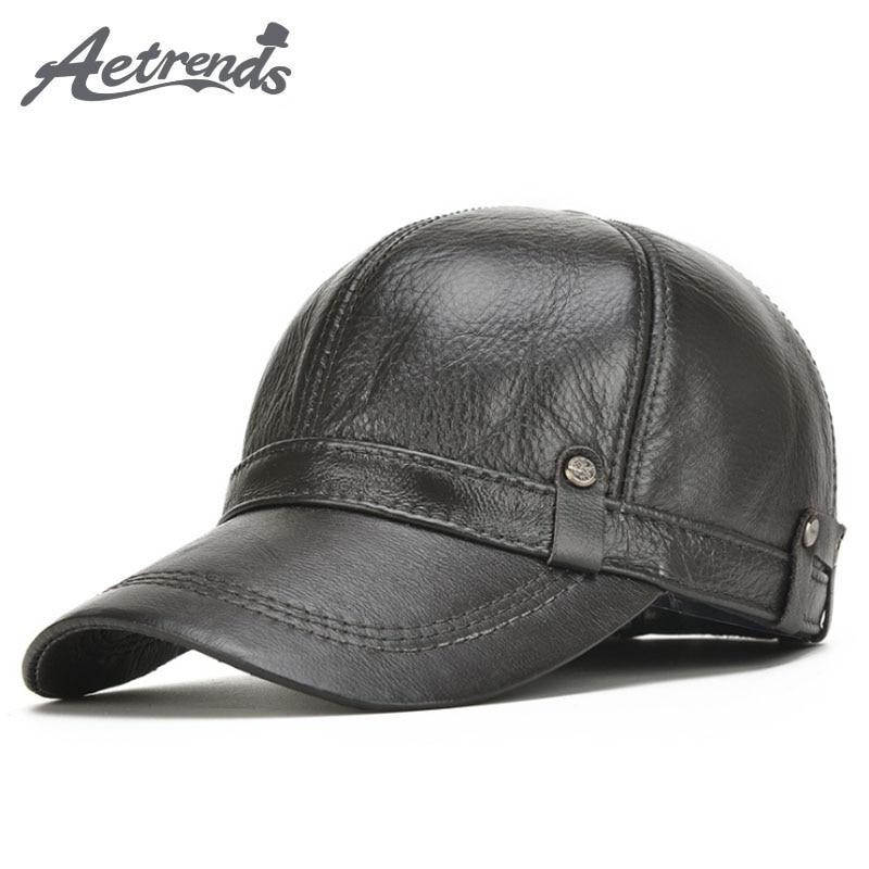 promo code 42781 74d27  AETRENDS  Leather Hat Men 100% Leather Baseball Cap with Ears Flap Dad  Hats Bone Masculino Mens Winter Caps Trucker Cap Z-5304