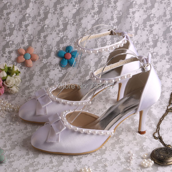 20 Colors White Bow Satin Wedding Shoes 2016 Closed Toe High Heel Jewelry Sandal Hand