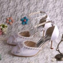 (20 Цветов) Белый Лук Атласная Свадебные Туфли 2016 Закрытое Toe Высокий Каблук Ювелирные Изделия Сандалии Ручной работы