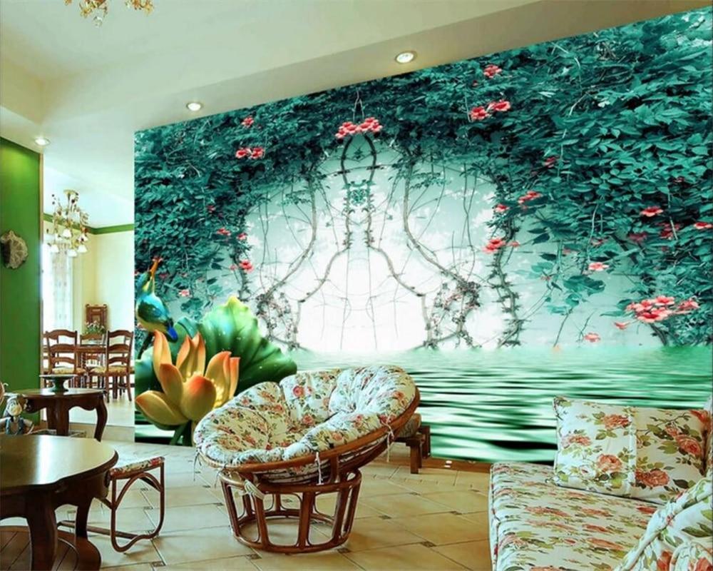 Beibehang Custom wallpaper green vines reflection 3D space TV background wallpaper home decor living room bedroom 3d wallpaper
