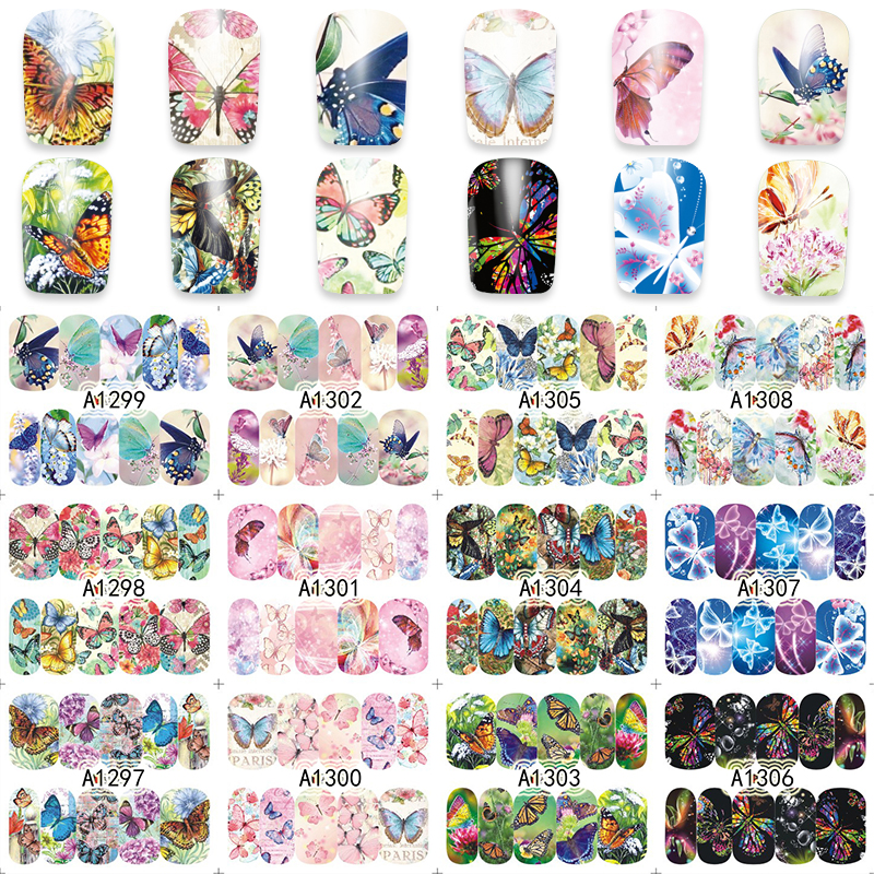 1 Sheet Nail Art Wrap Water Transfer Nails Sticker Butterfly Series Water Decals Stickers Decoration Tools Wraps A1297-1308 ds300 2016 new water transfer stickers for nails beauty harajuku blue totem decoration nail wraps sticker fingernails decals