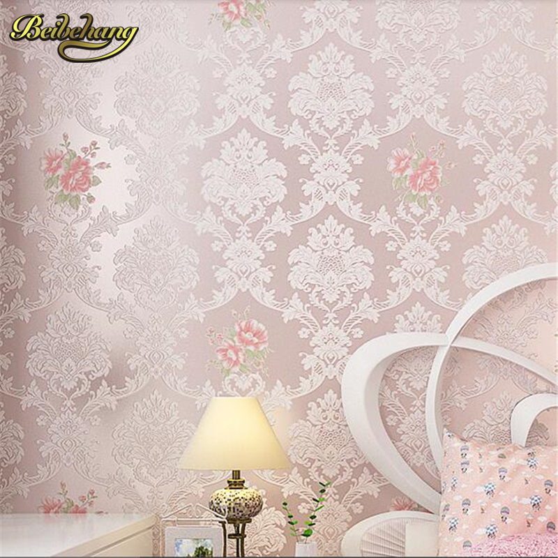 beibehang papel de parede European Pastoral Damascus non - woven wallpaper bedroom living room TV background warm wallpaper beibehang papel de parede retro classic apple tree bird wallpaper bedroom living room background non woven pastoral wall paper