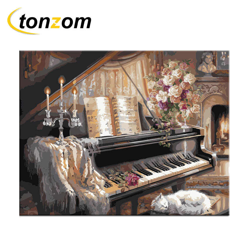 RIHE Piano Diy Painting By Numbers Cat Oil Painting Music Cuadros Decoracion Acrylic Paint On Canvas Modern Wall Art Gift