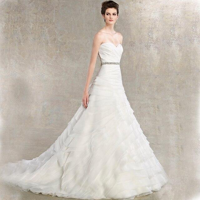 Elegant Ruffled Organza Beading Sash Bridal Gown Fluffy Type A Line Wedding Dress Sexy Sweetheart