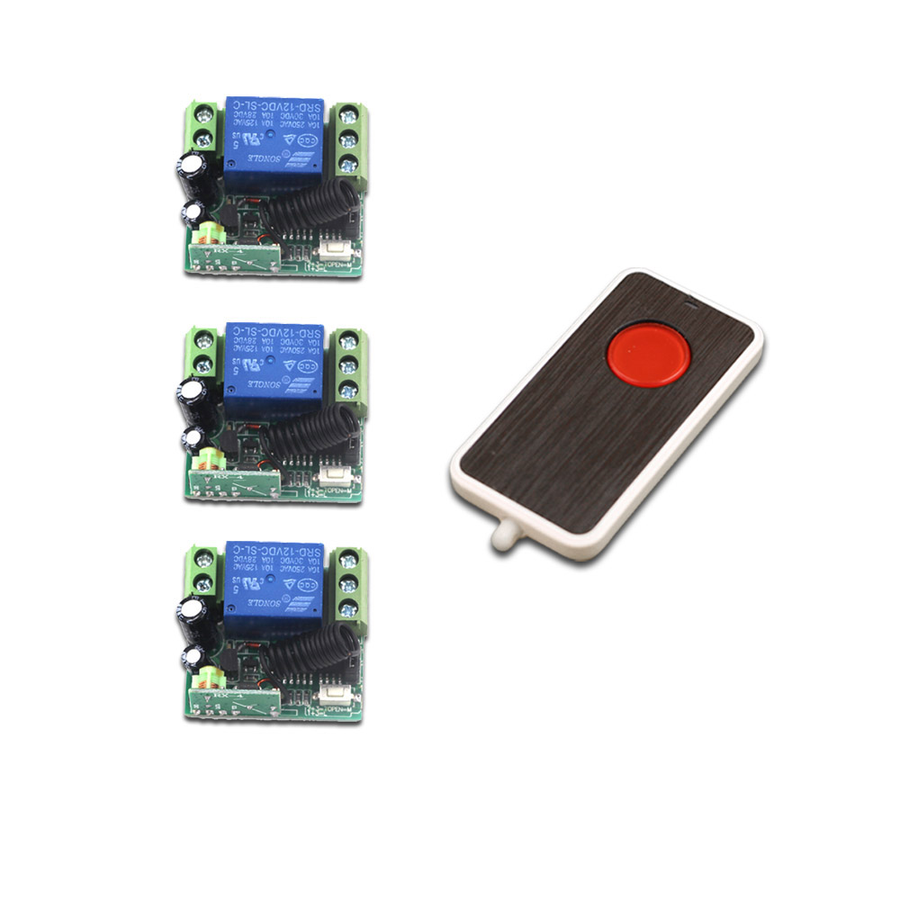 DC 12V Mini Wireless Remote Control Switch System 1 CH 10A Relay Receiver RF Remote Controller 315Mhz 433MHZ Transmitter купить