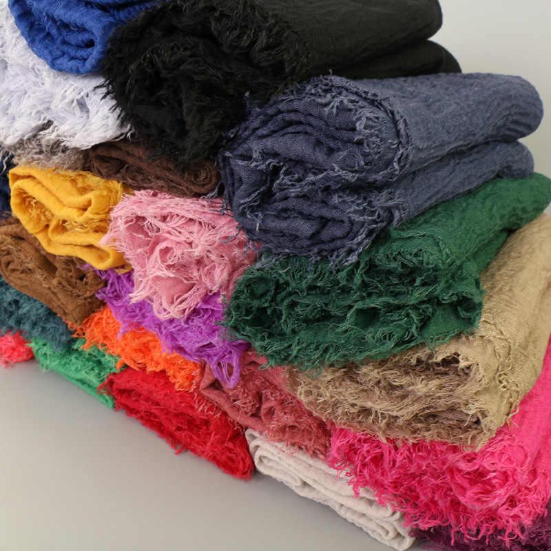 Nueva bufanda de algodón de burbuja Lisa 2019 chal envoltura musulmán Hijab vincha secar bufandas de viscosa Echarpe Foulard mujer 46 colores