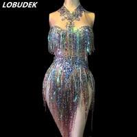 Colorful Sequins Rhinestones Tassels Bodysuit Sleeveless Crystals Jumpsuit Sexy Nightclub Women Singer Stage Wear Dance Costumes