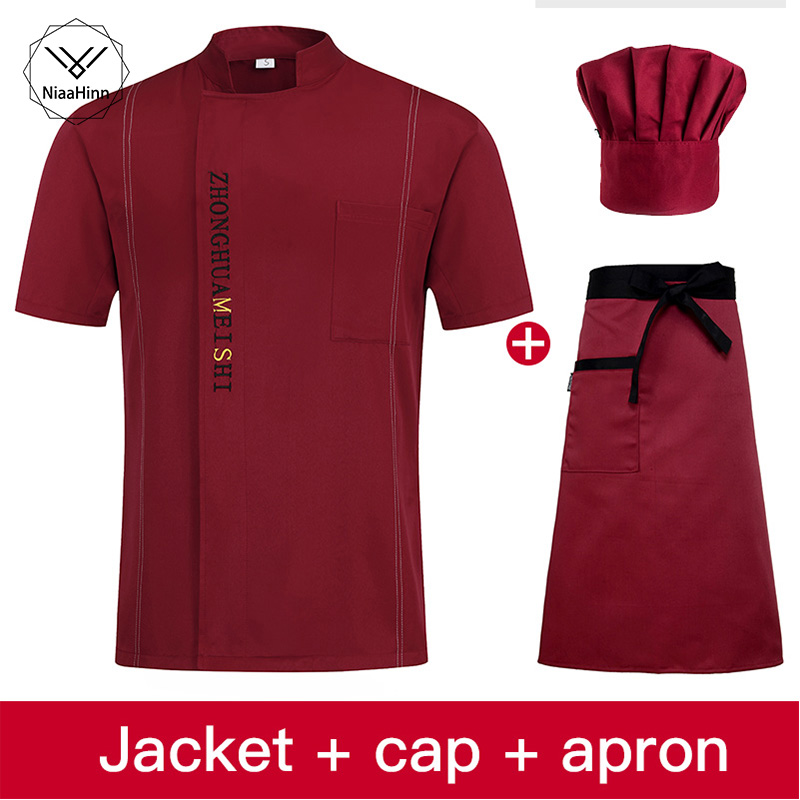 High Quality Chef Jacket Short Sleeve Chef Uniform Hotel Bakery Working Wear Restaurant Work  Uniform Cook Suit Hat+Apron+hat