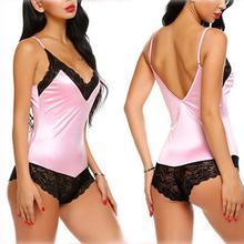 New Women s Fashion Lace Bodysuit Backless Underwear V-Neck Lingerie Floral Lace Nightwear Sleepwear Pajamas dual v neck contrast lace trim bodysuit