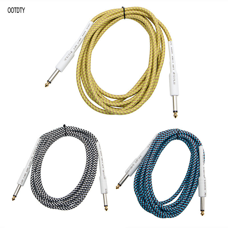 10FT Guitar Bass 6 35mm 1 4 quot Mono Male to Male Audio Cable Wire Braided Cord in Connectors from Lights amp Lighting