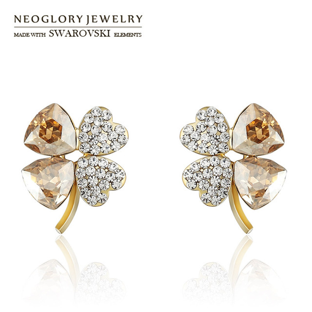 Neoglory Austria Crystal   Czech Rhinestone Stud Earrings Exquisite Flower  Shaped Elegant Style Light Yellow Gold Color Women 16fef8b23c3d