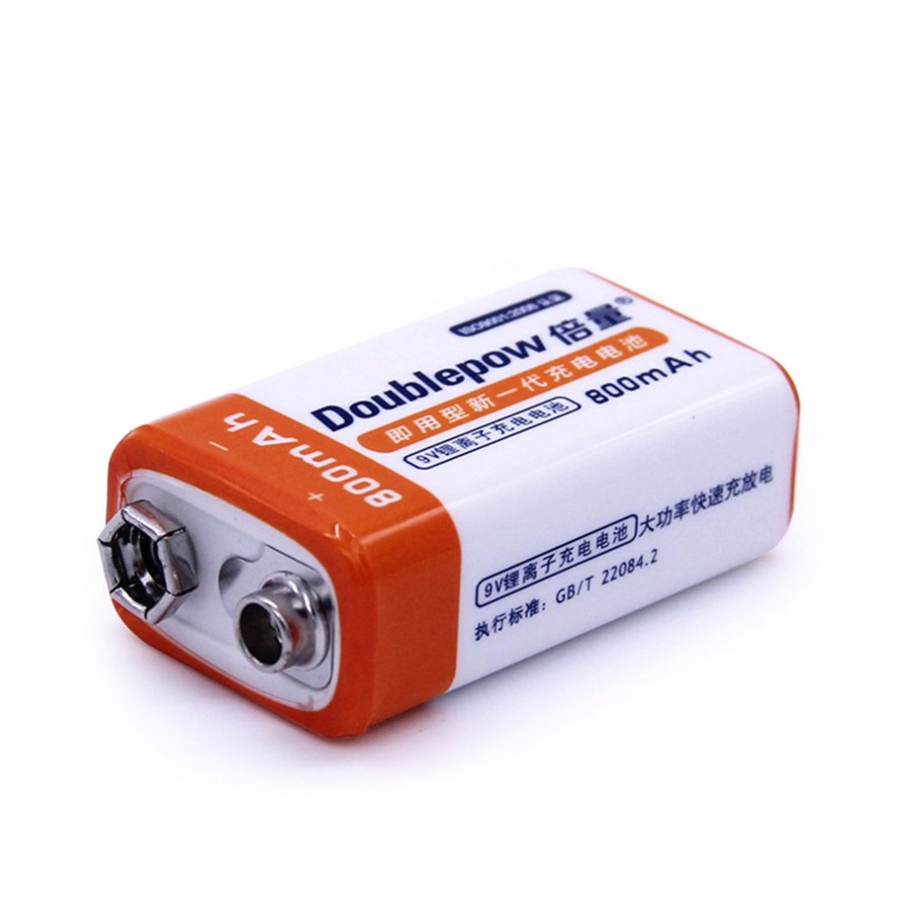 Doublepow 9 V 800 MAH Bateria Recarregável De iões de Lítio Tamanho Da Bateria de Substituição de Alta Capacidade Portátil Para Multímetro