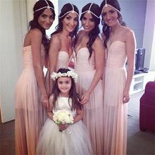 2015 Elegant Pink Long Chiffon Bridesmaid Dress V Neck Off The Shoulder Backless Pleat A Line