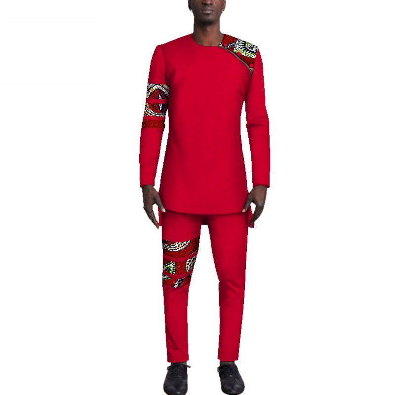 Casual-Mens-African-Clothing-Bazin-Riche-Patchwork-Top-Shirt-and-Pants-for-Men-Custom-100-Cotton(10)