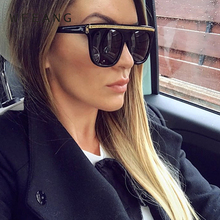 WFEANG Flat Top Sunglasses Women Luxury Brand Designer Retro Vintage Sun Glasses Female Kim Kardashian Clear Glass