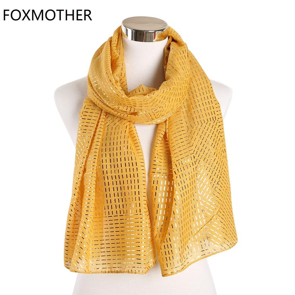 FOXMOTHER nuevas mujeres otoño bufandas amarillo Rosa papel de aluminio dorado a rayas bufandas Hijab musulmán Wrap femenino chal