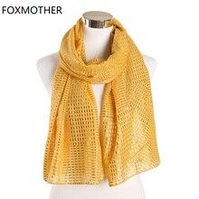 FOXMOTHER Phụ Nữ Mới Thu Scarfs Vàng Màu Hồng Viền Vàng Kẻ Sọc Sọc Khăn Hijab Hồi Giáo Quấn Khăn Choàng Nữ