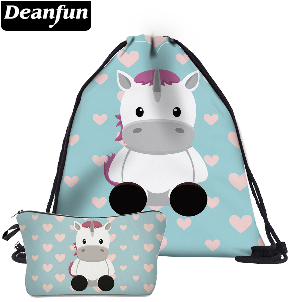Deanfun 2Pc Cute Drawstring Bags Unicorn Printed Girls Multifunctional Schoolbags