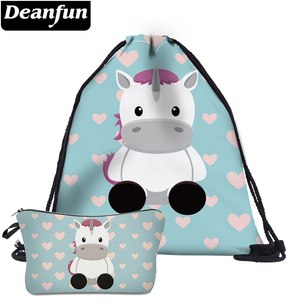Deanfun 2Pc Cute Drawstring Bags Unicorn Printed Girls Multifunctional Schoolbags