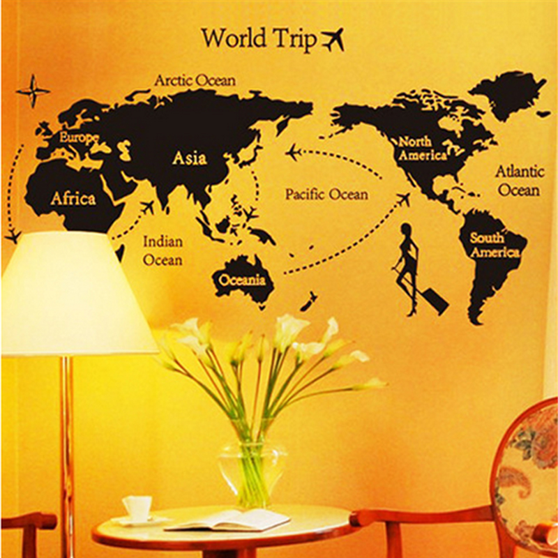 ▻Creative DIY Home Decor World Trip Map Wall Stickers Black Printed ...