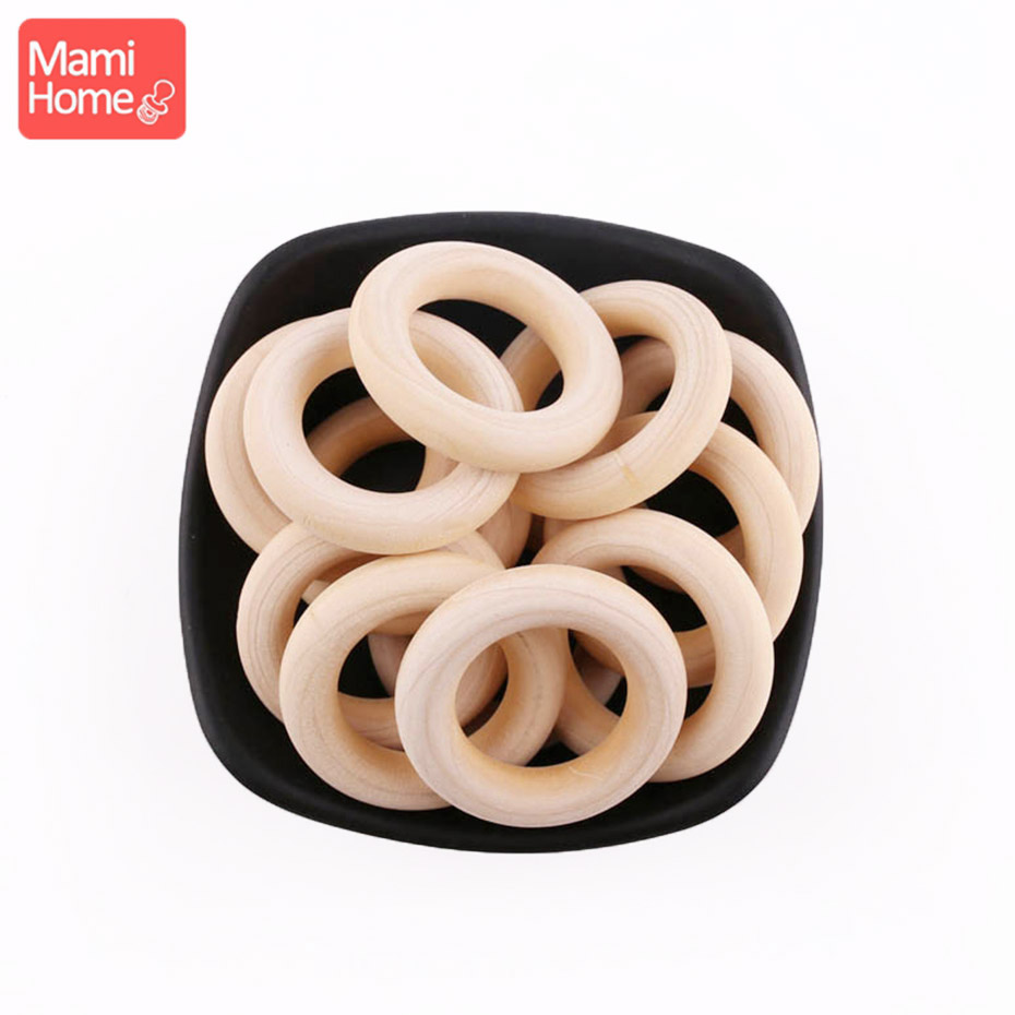 Mamihome 100pcs 25mm-70mm Wood Teething Wooden Ring DIY Necklace Rattles Wooden Blank Teether Nurse Gifts Children'S Goods Toys