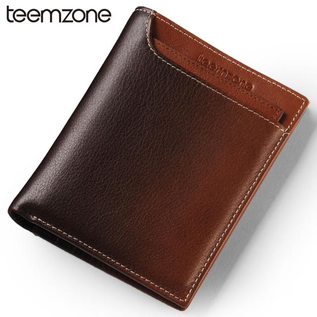 Teemzone monedero popular envío gratis hombres bifold del cuero genuino de embrague titular de la tarjeta id passcase monedero 2 tamaño q361