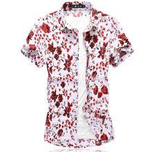 Hawaii Floral Shirt Mens Short sleeve Silk Shirts Wedding Dress Blouse Mens Clothing Navy Red Summer men s silk 100% silk blouses hawaii shirts tropical leisure shirts short sleeved shirts