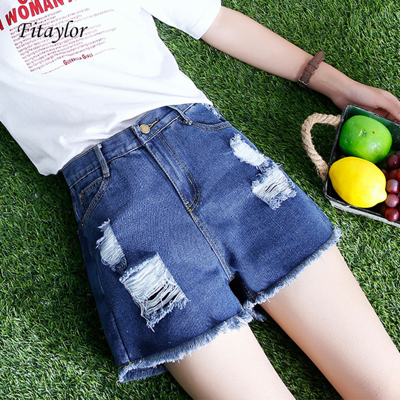 Fitaylor Women Summer Holes Denim Shorts Simple Casual Shorts Wide Leg Hotpants Casual High Waist Denim Shorts Jeans