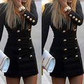 Women's Long Sleeve Bodycon Deep V Party Cocktail Short Mini Dress