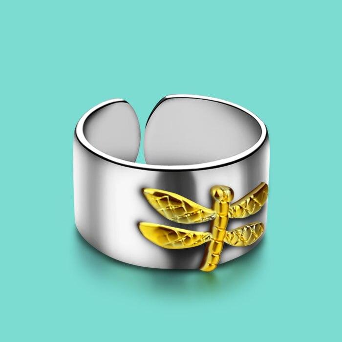 zonjë 925 unazë argjendi të pastër, dizajn special, Dragonfly, unaza argjendi grua, bizhuteri popullore argjendi Dhuratë për unazë argjendi të ngurtë