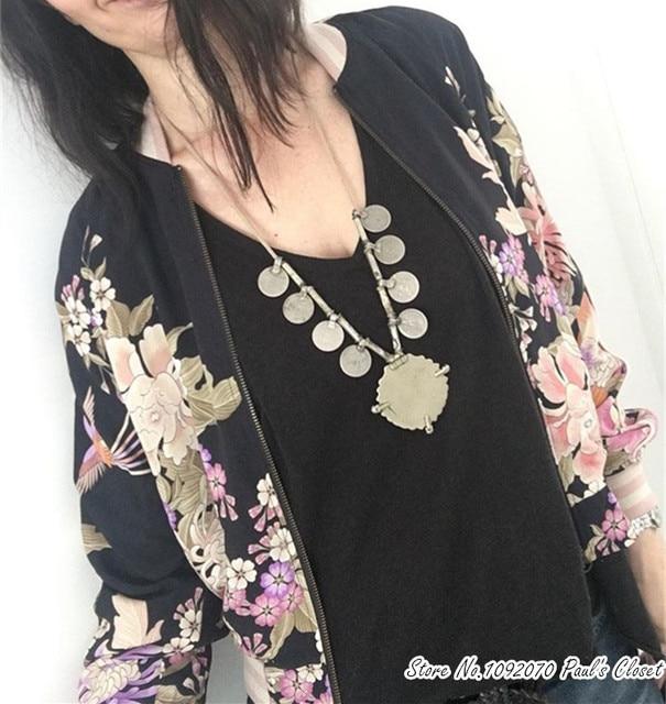 edf43af89 النساء خمر الزهور طباعة منفذها رايون بارد فتاة منفذها سترة في الأسود و كريم  الألوان
