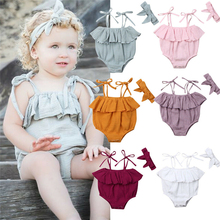 Cute Newborn Baby Girls Bodysuit Sling Ruffle Jumpsuit Bodysuit Outfits Clothes Summer Baby Clothing One Piece Bodysuit+Headband new baby boys girls clothes bodysuit cute child animals jumpsuit hat cap clothing outfits 2pcs set