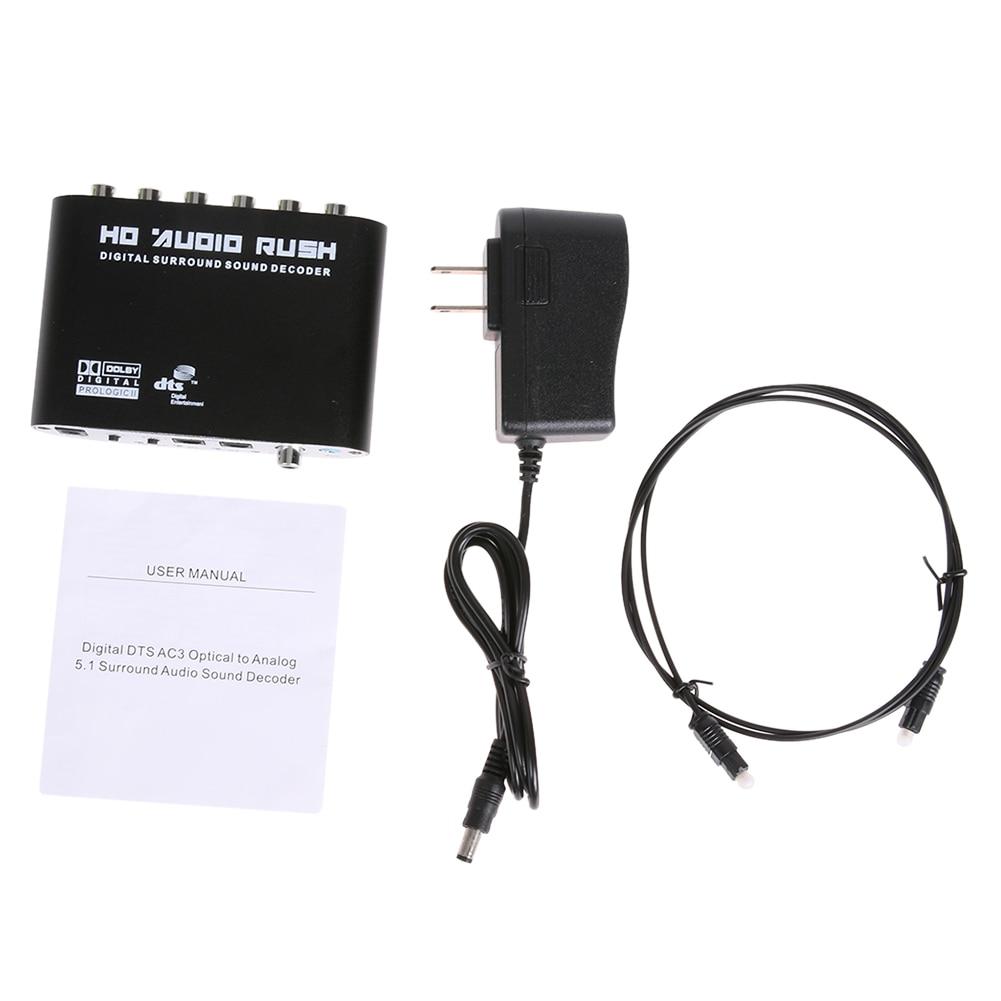 5.1 CH ses dekoder RCA DTS AC3 SPDIF Koaksiyel dijital 5.1 için Amplifikatör Analog Dönüştürücü güç adaptörü ve optik kablo ile