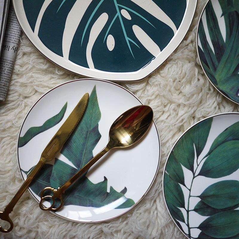 4pcs European Style Rainforest Gold Rim Spot Ceramic Plate Dish Fish Dish Steak Dish Western Dish Dessert Plate Jewelry Storage-in Dishes & Plates from Home & Garden    2