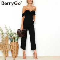 BerryGo Sexy Backless Off Shoulder Black Jumpsuit Women Tiered Ruffle High Waist Jumpsuit Romper Split Casual