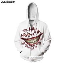 Jumeast Brand Funny HAHA Joker Men/Women 3D Print Zipper Hoodie Why So Serious Long Sleeve Jacket Sport Pullover Cool Smile Face